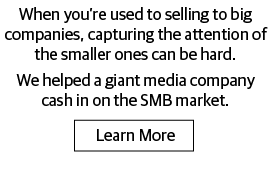 When you're used to selling to big companies, capturing the attention of the smaller ones can be hard. We helped a giant media company cash in on the SMB market.